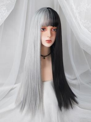 Evahair Half Black and Half White Long Straight Synthetic Wig with Bangs