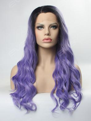 Water Wavy Dark Purple Synthetic Lace Front Wig
