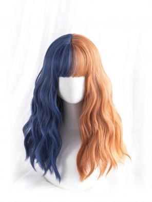 Evahair Half Blue and Half Orange Long Wavy Synthetic Wig with Bangs