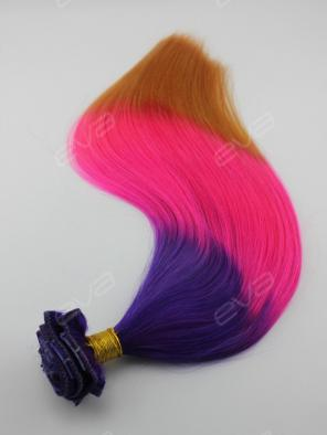 Amazing Purple to Pink to Yellow Brown 3-color Virgin Human Hair Clip In Hair Extension