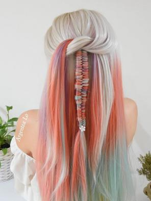 Hidden Rainbow Color Synthetic Lace Front Straight Wig