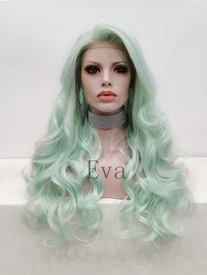 Evahair Green Long Wavy Synthetic Lace Front Wig