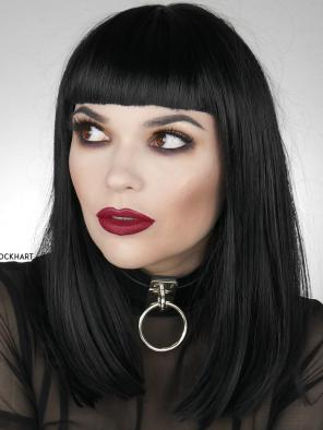 Cute Black Bob with Bangs Synthetic Lece Front Wigs