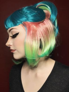 New Arrival Hidden Rainbow Color Teal Bob Synthetic Wig