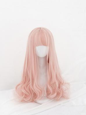 Evahair Sweet Pinkish Orange Long Wavy Synthetic Wig with Bangs