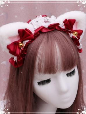 Evahair Cute Christmas White Furry Cat-Ears Hairpin
