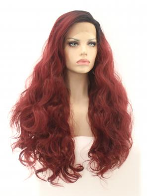 Maroon Synthetic Lace Front Wig