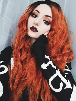 Orange Ombre with Slight Wavy Style Synthetic Lace Front Wig
