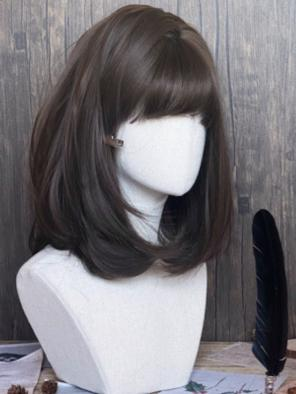 Evahair Brown Bob Straight Synthetic Wig with Bangs