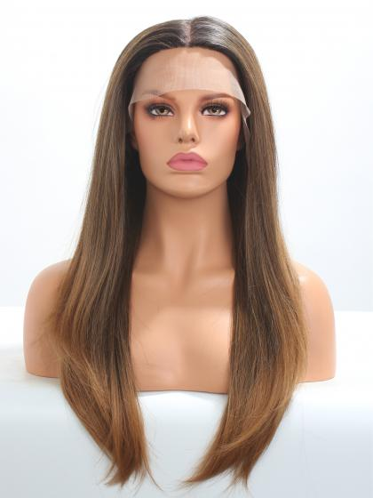 (Mono Top) Natural Brown T color Synthetic Lace Front Wig (Mono Top)