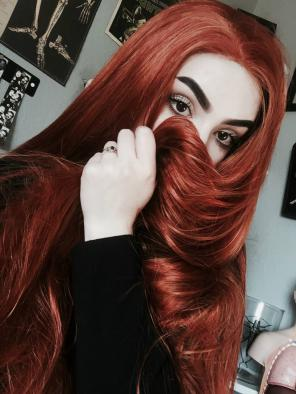 Limited- Super Long Dark Orange Straight Synthetic Lace Front Wig