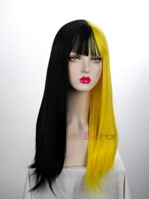 Evahair Half Black and Half Yellow Wefted Cap Long Staight Synthetic Wig with Bangs