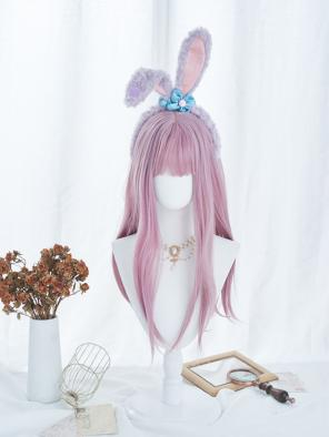 Evahair Pink Long Straight Synthetic Wig with Bangs
