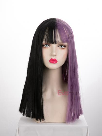 Evahair Half Black and Half Purple Wefted Cap Long Straight Synthetic Wig with Bangs