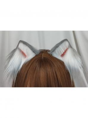 Evahair Cute Grey and White Lolita Furry Cat-Ears Hairpin