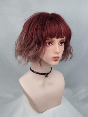 Evahair Cute 2021 New Style Red Ombre Bob Wavy Synthetic with Bangs