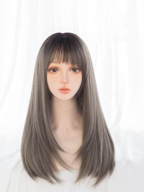 Evahair Dark Linen Grey Long Straight Synthetic Wig with Bangs