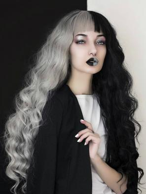 Half Black and Half Grey Water Wavy Quite Long Synthetic Lace Front Wig