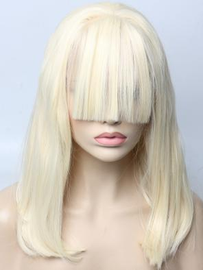 Lady Gaga Inspired Pure Blonde with Bangs Style Synthetic Lace Front Wig