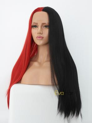 Half Black Half Red Synthetic Lace Front Wig