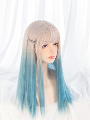 Evahair Beige to Bluish-Green Ombre Long Straight Synthetic Wig with Bangs