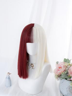 Evahair Half Red and Half White Medium Straight Synthetic Wig with Bangs