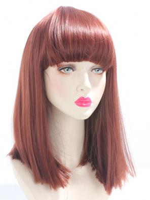 REDDISH BROWN / GINGER SPECIAL MEDIUM LENGTH STRAIGHT LOB WITH BANGS