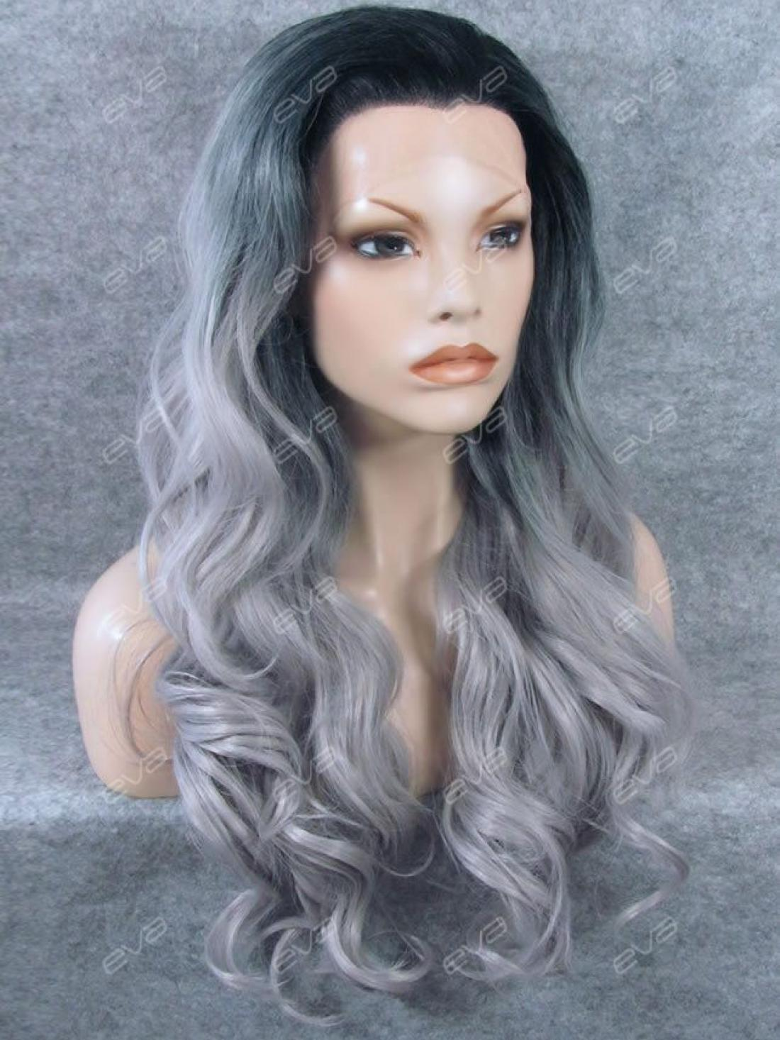 New Fashion Dark Grey Color Ombre Long Wavy Synthetic Lace