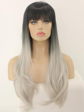 EvaHair Grey Ombre Bust Length Straight Synthetic Wig with Full Bangs
