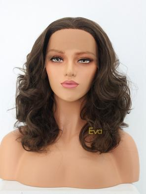 Dark Brown Shoulder Length Wavy Synthetic Lace Front Wig