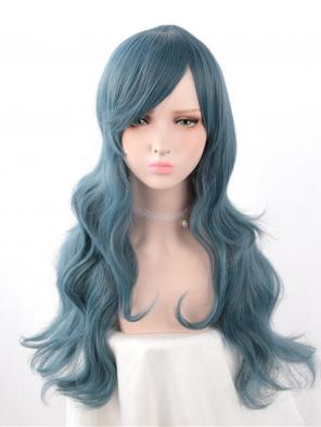 Evahair Haze Blue Long Wavy Synthetic Wig with Side Bangs