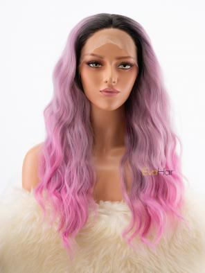 Purplish Pink Wavy Synthetic Lace Front Wig