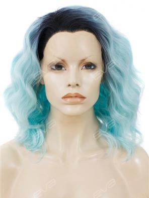 Sky Blue with Dark Root Medium Length Wavy Bob Synthetic Lace Front Wig