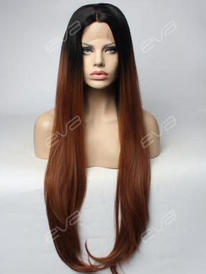 Brown T color Super Long Straight Synthetic Lace Front Wig