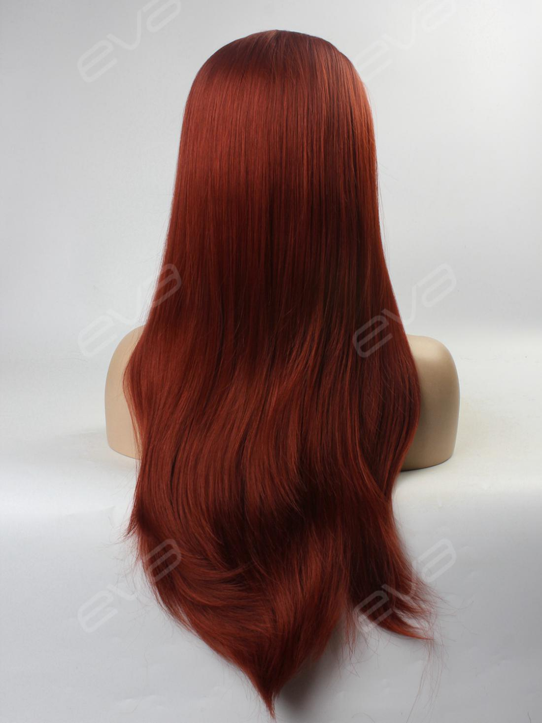 Reddish Brown Ginger Color Long Straight Synthetic Lace