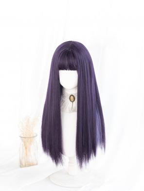 Evahair Sweet Purple Mixed Color Long Straight Synthetic Wig with Bangs