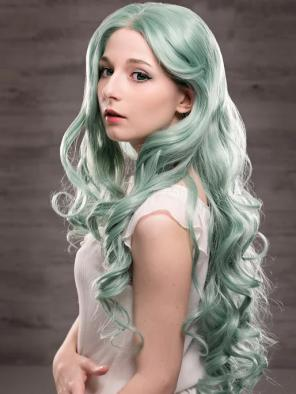 EvaHair Pastel Mint Long Wavy Natural Parting Synthetic Lace Front Wig