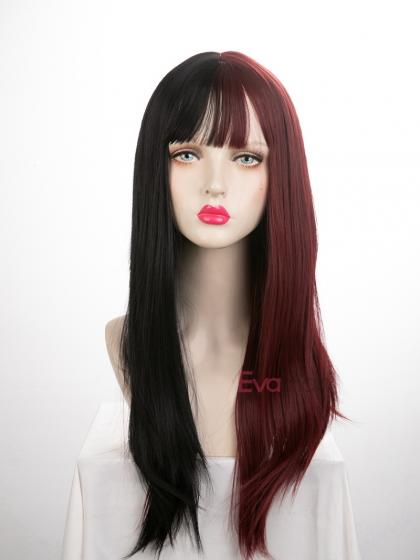 Evahair Half Black and Half Brown Wefted Cap Long Straight Synthetic Wig with Bangs