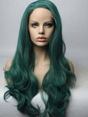 Dark Green Mixed Color Synthetic Lace Front Wig
