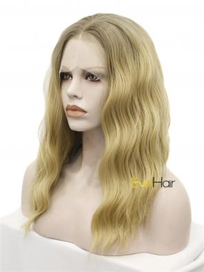 Beige Blonde Hair Color Shoulder Length Wavy Synthetic Lace Front Wig