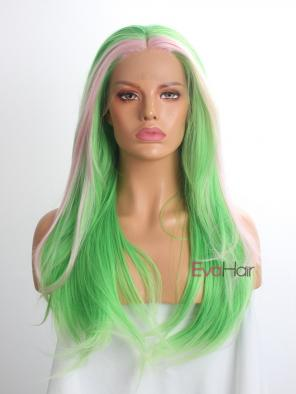 Evahair Green and Fore Pink Long Straight Synthetic Lace Front Wig