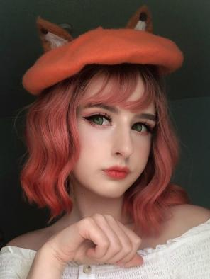 Pinky Orange Wavy Bob Synthetic Wig with Wispy Fringes