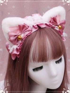 Evahair Cute White and Pink Furry Lolita Cat-Ears Hairpin