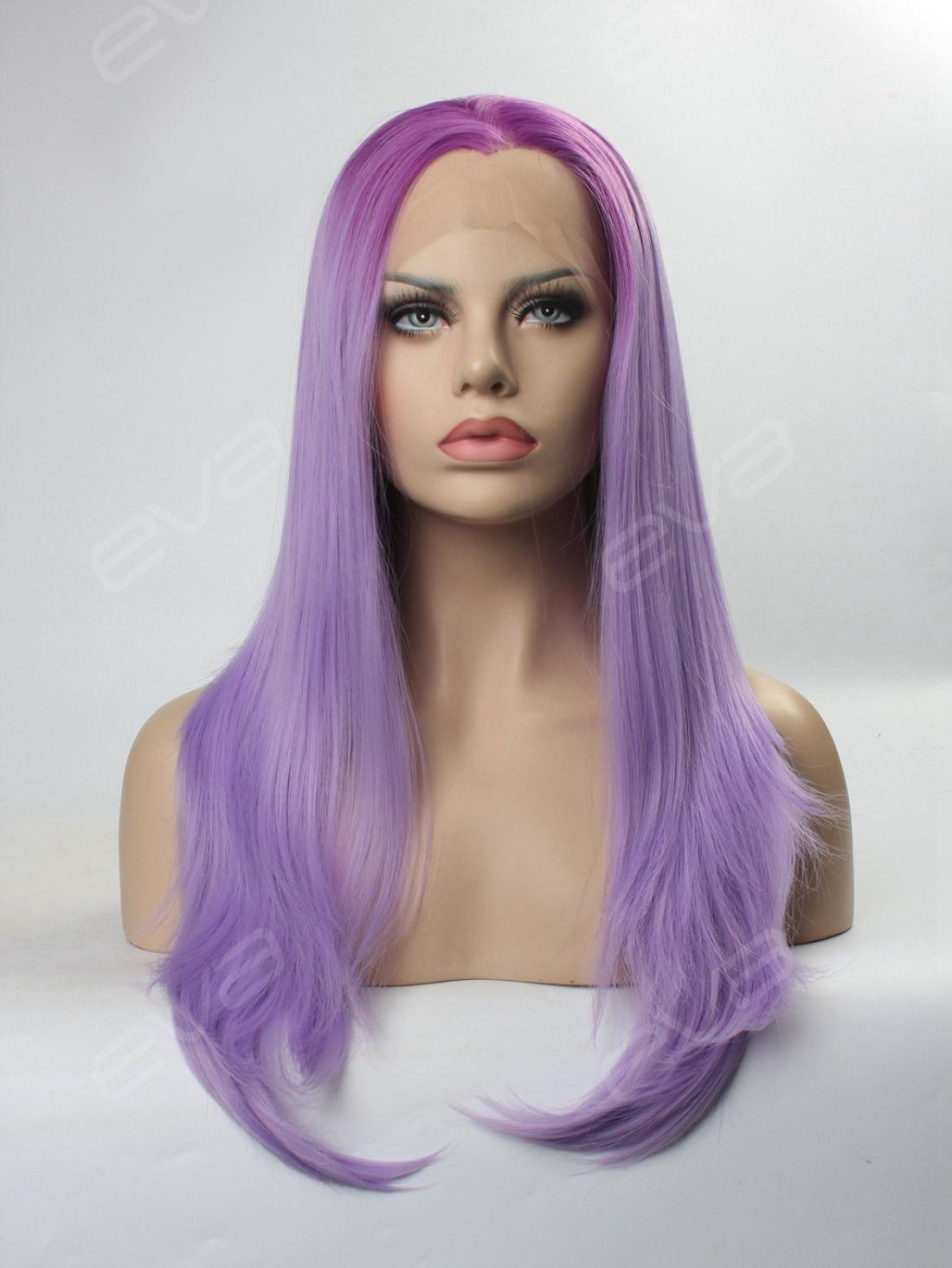 Graduated Lavender Purple Color Long Straight Synthetic
