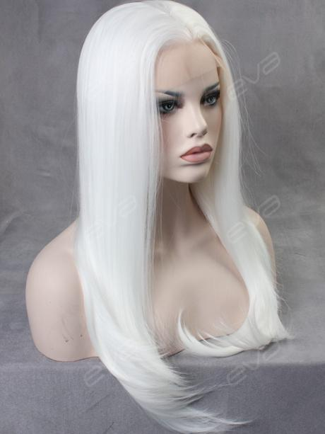 white straight long synthetic lace front wig all