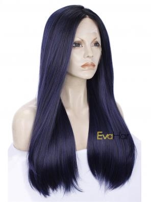 Deep Purple Fall and Winter Synthetic Lace Front Wig