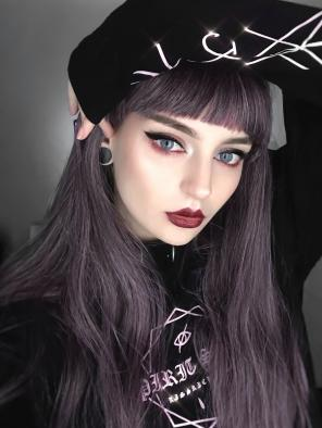 Dark Purple Mixed Color Synthetic Wefted Cap Wig with Bangs