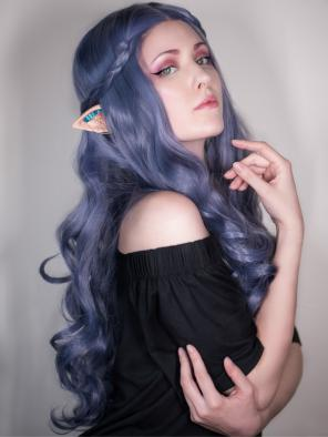 New Dark Dusty Purple Sexy Wavy Synthetic Lace Front Wig