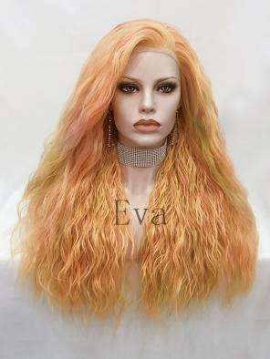 Evahair Multicolored Orange Long Wavy Synthetic Lace Front Wig