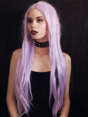 Super Long Lavender Gothic Style Straight Synthetic Lace Front Wig